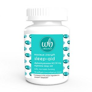Wellness Basics Maximum Strength Sleep-Aid Diphenhydramine Softgel, 96 Count