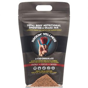 Rockin Wellness – Chocolate Cacao Superfood | Vegan, Organic, Non-GMO, Gluten-Free, Dairy-Free | All Natural Smoothie & Shake Mix | Total Body Nutrition – 30 Servings