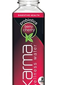 Karma Wellness Flavored Probiotic Water, Berry Cherry, 18 Fl Oz (Pack of 12), Supports Digestive Health with Fiber, Low Calorie, 2 Billion Active Cultures