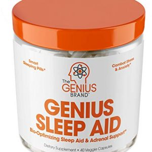 Genius Sleep AID – Smart Sleeping Pills & Adrenal Fatigue Supplement, Natural Stress, Anxiety & Insomnia Relief – Relaxation Enhancer and Mood Support w/Inositol, L-Theanine & Glycine – 40 Capsules