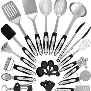 Home Hero Stainless Steel Kitchen Cooking Utensils – 25 Piece Utensil Set – Nonstick Kitchen Utensils Cookware Set with Spatula – Best Kitchen Gadgets Kitchen Tool Set