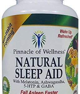 Pinnacle of Wellness All Natural Sleep Aid – Melatonin, Ashwagandha, 5-HTP, GABA and 12 Other Proven Ingredients – Herbal Non-Habit Forming Sleeping Pills (60 Vegan Capsules)